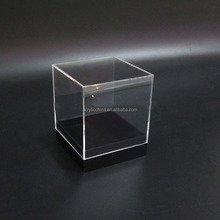 Cube Square Shape Clear Small Acrylic Display Boxes Transparent Plexiglass Jewellry Display Box With Black Base
