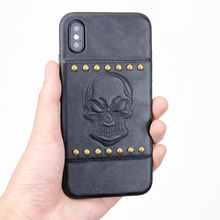 Cool Skeleton embossed design PU leather 5.5 inch mobile phone case