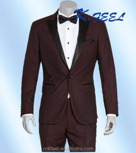 Men's Modern Elegant Wool 3-Piece Suit Slim-Fit Tuxedo Dinner Dress Suits