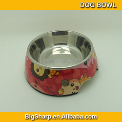 Bigsharp wholesale convenient high quality detachable dual antiskid Melamine cartoon dog bowl