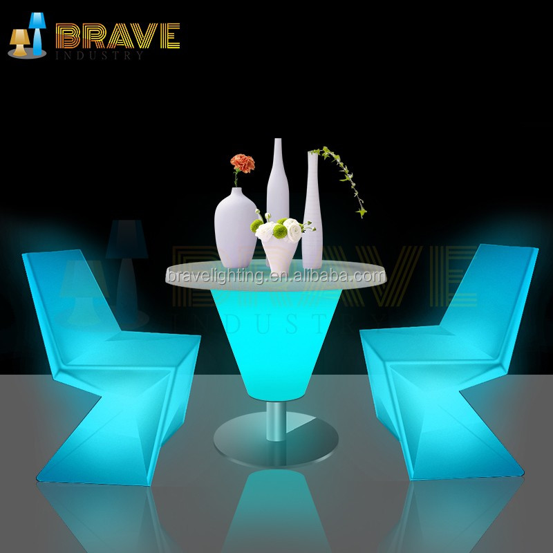 LED Night Lights Decorative Bar Wireless Rechargeable Rotomolding Plastic LED Chair Table light up led table chair set