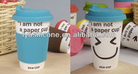 "Personalized Porcelain Thermos Coffee Cup Eco Mug with Silicone Lid & Sleeve ""I am not a paper cup"""