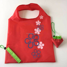 reusable eco 210d rpet foldable polyester strawberry shopping bag for promotion