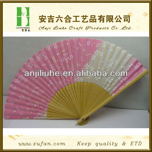 Japanese element foldable hand bamboo silk fan