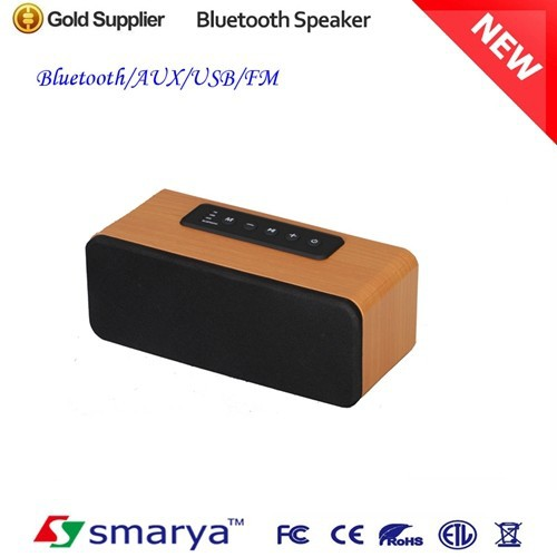 2015 Latest design wooden bluetooth speaker with AUX Function, FM Radio with External Power Supply