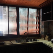 window curtains, venetian style wooden blinds in home & garden