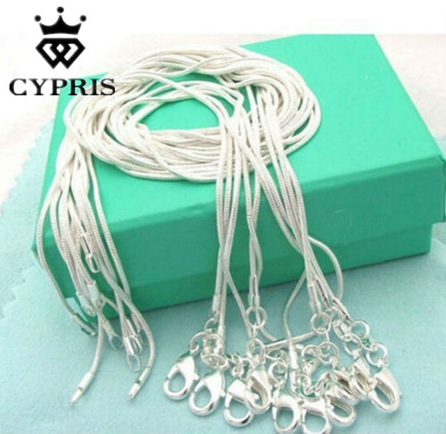 wholesale retail 16 18 20 22 24 inch Beautiful fashion silver 1MM snake chain Necklace  jewelry wholesale bulk stamp CYPRIS