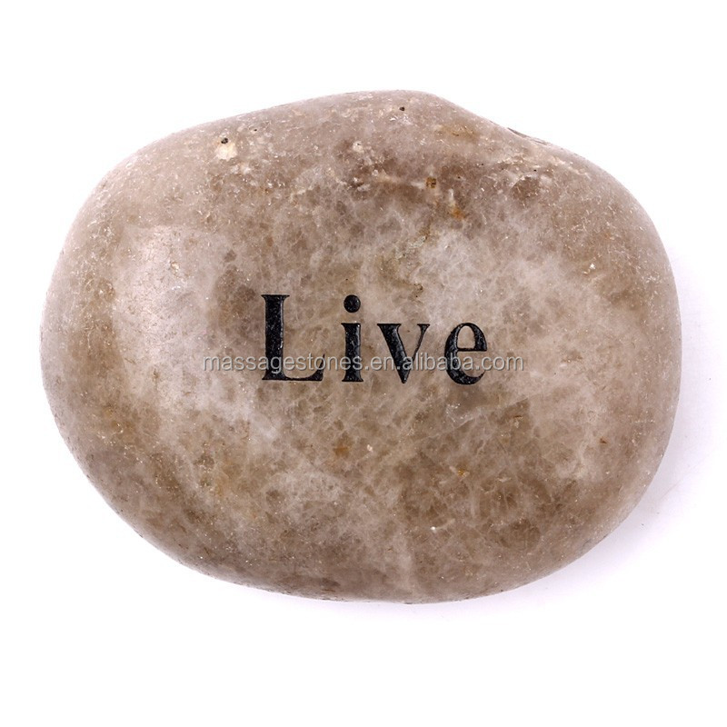 Polished mixed color rocks craving inspirational words live stone gifts