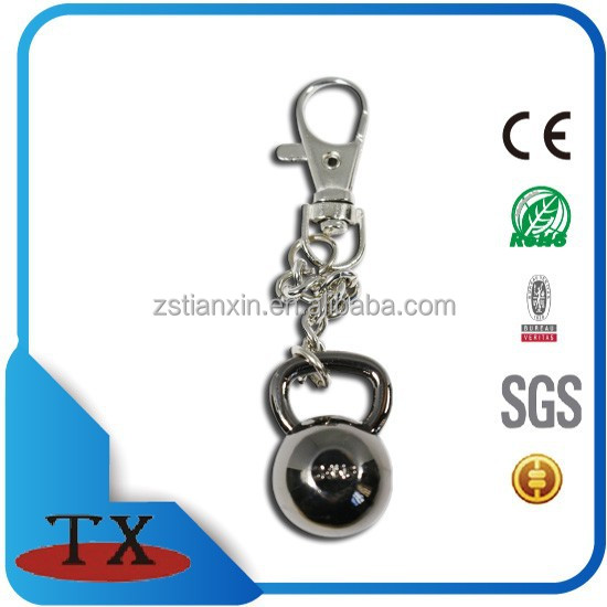 metal dumbbell shape sport fitness keychain with ring