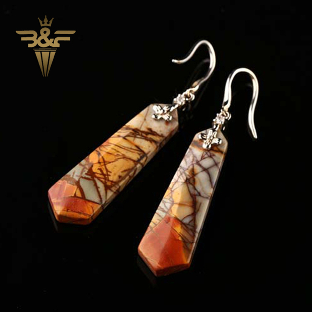 New, Sterling Silver 925 With Multi-color Picasso Jasper Gemstone Earring ,38x11x4mm,7.83g