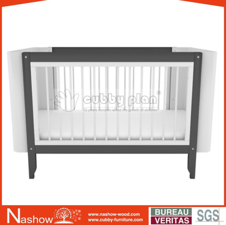 Cubby Plan LMBC-004 Nashow New Design 4 in 1 High Quality Wooden Baby White Crib