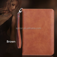 New Products for 2016 Leather Pouch Case Book Stand Tablet Pc Case with Safety Lanyard for Ipad pro/ipad mini4