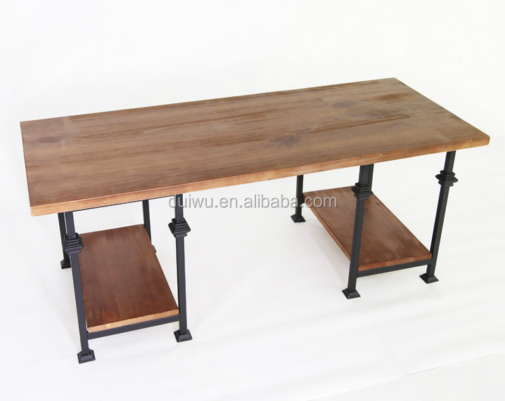 Factory Industrial Vintage Style Wood Eagle Coffee Table With Metal Legs