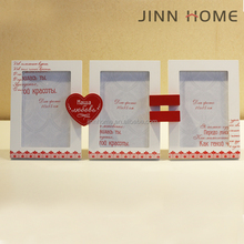 Jinnhome new design 3 in 1 red love shape wooden big wedding photo frame
