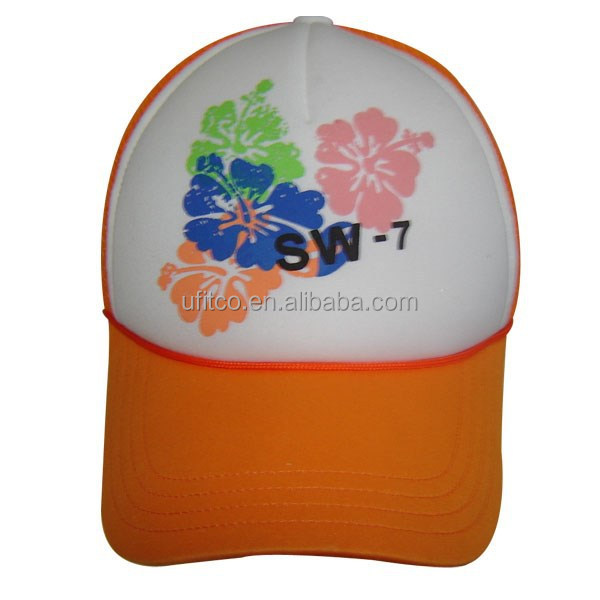5 panel custom design on front with rope around brim orange curve peaked white front cheap trucker cap and hat