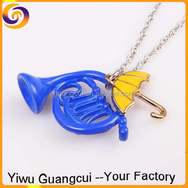 2017 Alice in Wonderland Syndrome umbrella trumpet horn necklace
