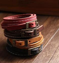 Tricyclic multicircular retro cowhide bracelet men and women couple accessories multicircular leather bracelet