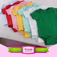 Solid Cotton Baby Clothes Fashionable plain Blank White Short Sleeves Romper