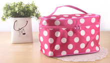 ladies large capacity travel cosmetic bags with double zippers
