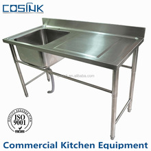 Restaurant/Hotel Kitchen Used Commercial freestanding Stainless Steel Sink with drainer board
