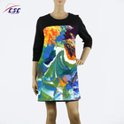 Wholesale ladies casual sublimation printed 3/4 sleeve dress
