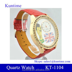 Vintage quartz watch with diamante case and flag decoration for 2014 world cup