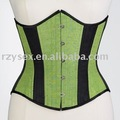 corset,underbust,black & green satin