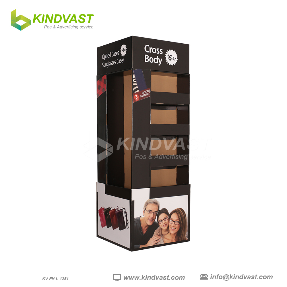 Walmart corrugated Full Pallet Display Stand for wallet and Eyewear
