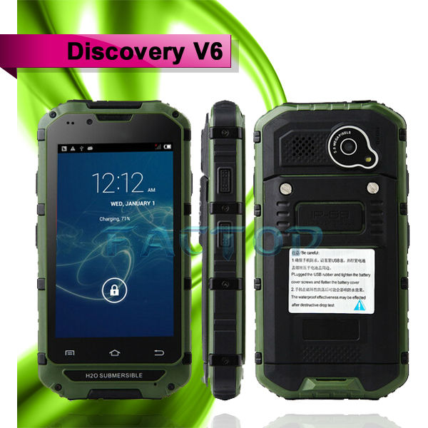 Discovery V6 Dustproof Shockproof WaterProof 4 Inch MTK6572 Dual Core Android 4.2 Touch Screen 2MP Dual Sim Mobile Phone