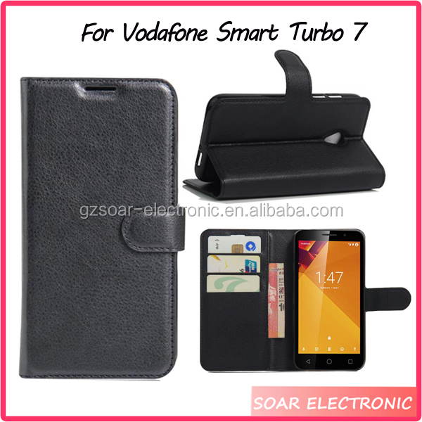 Simple Luxury Litch Card Holders Flip Wallet Cover Wallet Cover For Vodafone smart turbo 7 Case