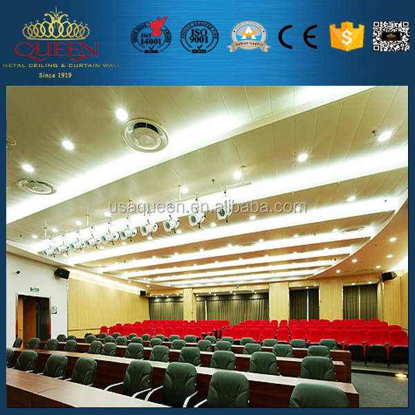 Wide panel supended false ceiling decoration designs for Office Building of Wuhan Accelink