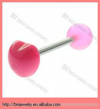 pink plastic heart free sample barbell tongue rings body jewelry