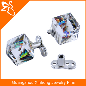 Custom Square Stone Dermal Anchor Piercing Jewelry With 3 Holes Anchor Base