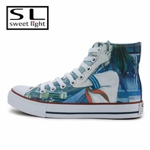 2017 hot sale Pink cartoon printing casual canvas shoes for women
