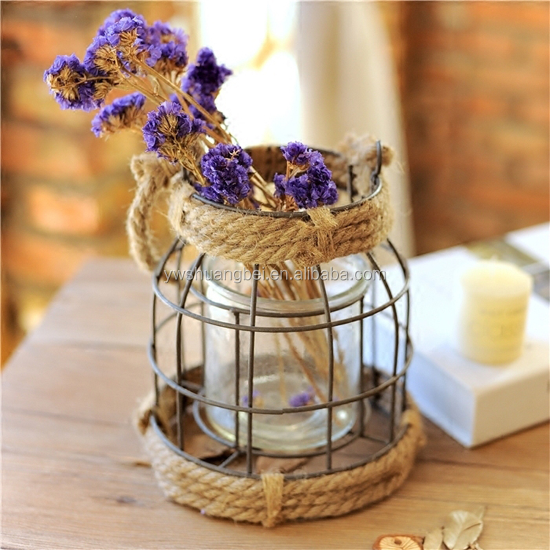 Decorative Metal Vintage Style Vase Container,Candle Holder Home Accent Decoration