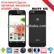 "Original Jiayu G5 mobile phone MTK6589T Quad core Smartphone 1GB+4GB/2GB+32GB 4.5"" IPS Gorilla glass screen"