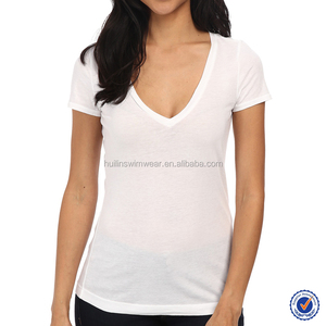 new design hot and sexy deep v neck top fashion girl t shirt with good market