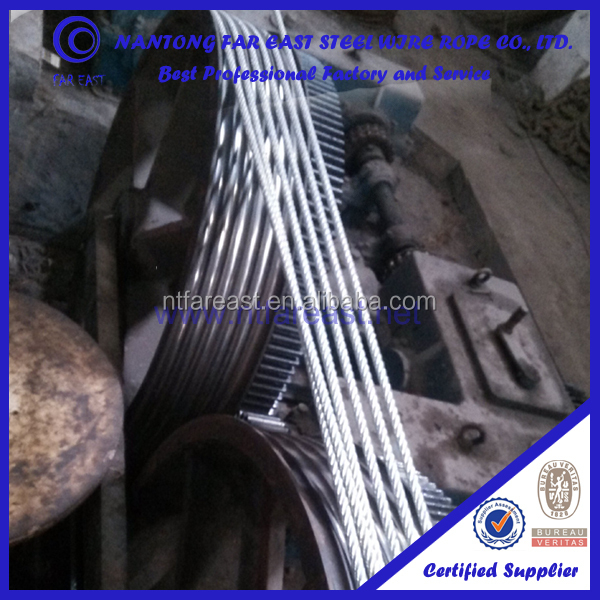 Jiangsu Nantong 6 x12+7FC galvanized steel cable wire rope