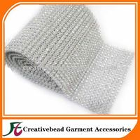 High quality 24 rows plastic trimming sew-on rhinestone mesh without stone silver color wholesale