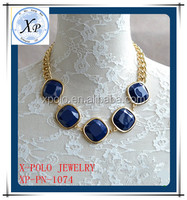 New fashion dark blue beaded statement necklace/bubble bib necklace