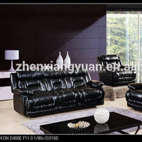 2018 Living room furniture modern italian black leather sofa reclining comfortable sofa Reclining house sofa set