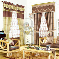New model china designs jacquard blackout curtains for valentine's day