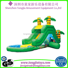 kids commercial inflatable water slide with pool inflatable bounce round