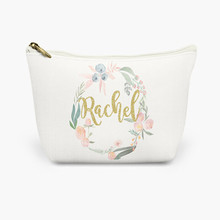 flower ring round glitter gold letter cream canvas customize cosmetic bag makeup