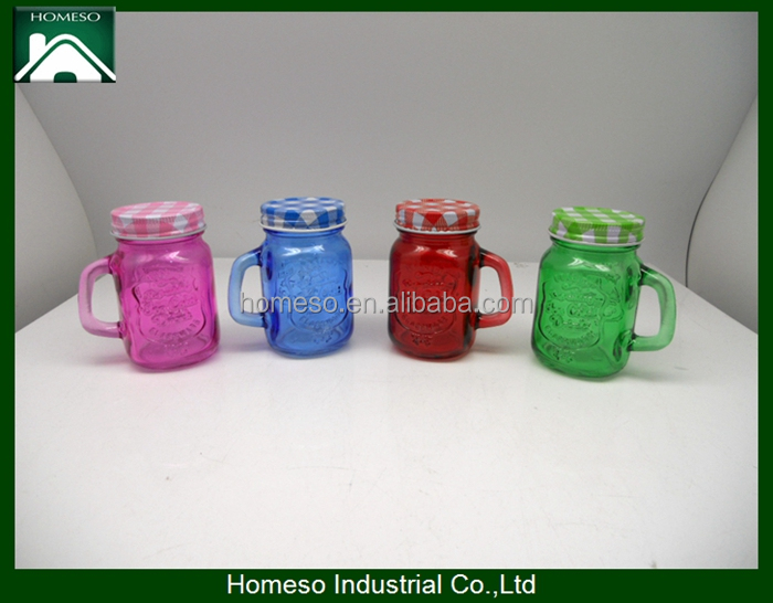 5oz colored embossed mini glass mason jar with handle