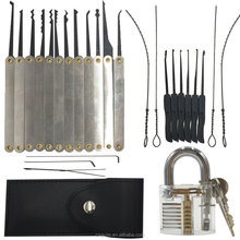 CNGUZE Practice Locksmith Tools Unlocking Pick Set + Key Extractor Set + Transparent inside view Padlock