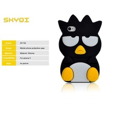 silicone case shaped animal of penguin for iphone 5, lovely 3d animal shape cell phone case for iphone 5