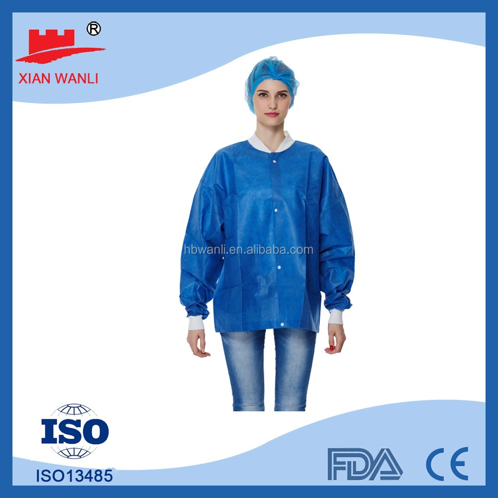 disposable non-woven lab coat patient suits with pockets
