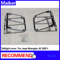 Stainless steel silver taillight cover rear light cover For Jeep Wrangler JK 2007+ off road auto parts accessories