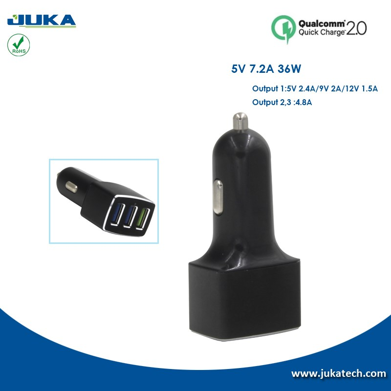 China Factory Wholesale 5v 7.2a output 4 usb car charger for all android devices for universal mobile